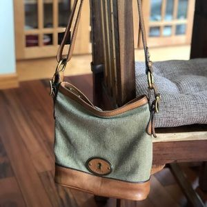 Fossil Leather and canvas Crossbody handbag